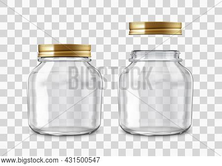 Close And Open Glass Jar For Canning Or Preserving