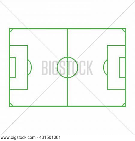 Football Field Icon On White Background Line Soccer Field