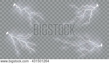 Set Of Lightnings Magic And Bright Lighting Effects. Set Of Zippers, Thunderstorm And Lightning, Sym