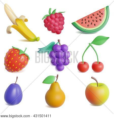 Realistic Detailed 3d Plasticine Fruit And Berry Set Include Of Cherry, Strawberry, Apple, Raspberry