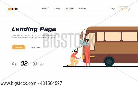 Repairmen Servicing And Repairing Bus. Technician, Vehicle, Transport Flat Vector Illustration. Main