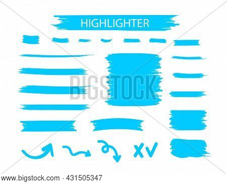 Blue Highlighter Marker Strokes. Yellow Watercolor Hand Drawn Highlight Set