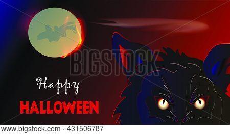 Halloween Banner Design With Moon And Werewolf