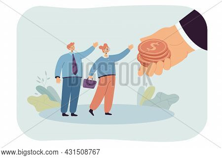 Giant Hand Giving Out Salary To Tiny Workers. Flat Vector Illustration. Cartoon Man And Woman Gettin