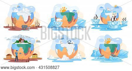 Temperature Rising And Animal Extinction Concept. Set Of Illustrations About Melting Glaciers, Globa