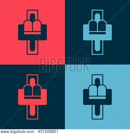 Pop Art Attraction Carousel Icon Isolated On Color Background. Amusement Park. Childrens Entertainme