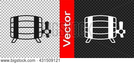 Black Wooden Barrel Icon Isolated On Transparent Background. Alcohol Barrel, Drink Container, Wooden