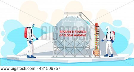 Scientists Analyse Change Of Climate On Earth. People Work In Research Stations Of Global Warming. M