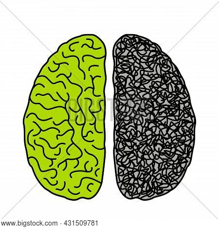 Two Hemispheres Of The Brain Of A Person With The Opposite Mental State. The Concept Of Chaos Diseas