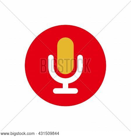 Simple Flat Microphone Icon Illustration Design, Modern Mic Symbol With Red, Yellow Color Template V