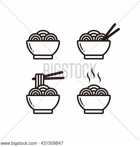 Set Of Simple Noodle Icon Illustration Design, Various Noodle Sign Template Vector
