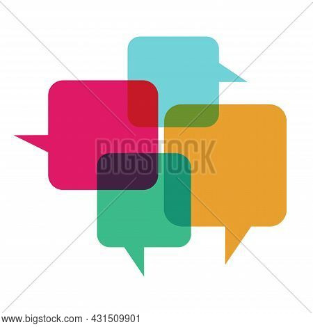Flat Vector Illustration Of Colorful Interacting Chat Bubbles. Perfect For Illustrations From Social