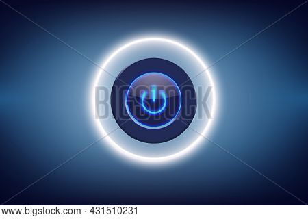 Shutdown Button On Blue Background And Business With Technology Concept