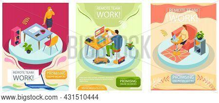 Remote Team Work, Online Meeting Workspace Scenes Set. Video Call Chat Conference. Businessman Speak