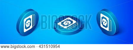 Isometric Tarot Cards Icon Isolated On Blue Background. Magic Occult Set Of Tarot Cards. Blue Circle