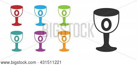 Black Medieval Goblet Icon Isolated On White Background. Holy Grail. Set Icons Colorful. Vector