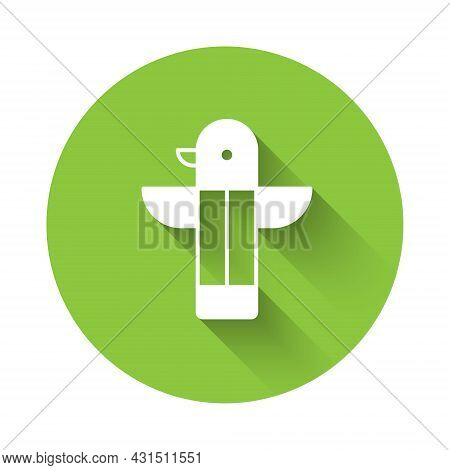 White Canadian Totem Pole Icon Isolated With Long Shadow Background. Green Circle Button. Vector