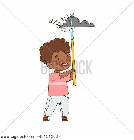Little African American Boy With Net Catching Cloud Saving Planet Taking Care Of Globe Vector Illust