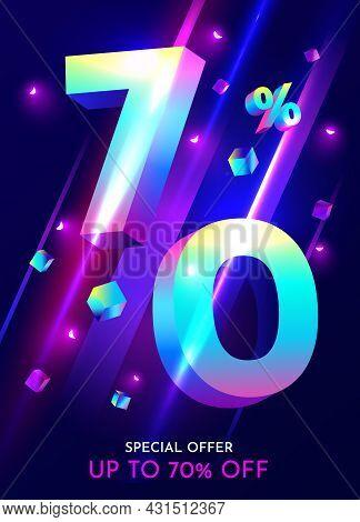 70 Percent Off. Discount Creative Composition. Mega Sale Neon Banner.