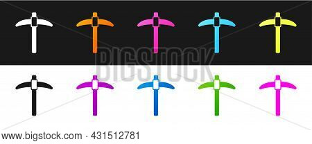 Set Pickaxe Icon Isolated On Black And White Background. Vector