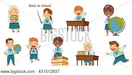 Back To School With Kids Wearing Uniform Sitting At Desk And Carrying Books Vector Set