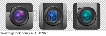 Photo Camera Icons Set. Collection Of Realistic Colorful Camera Lens Isolated On Transparent Backgro