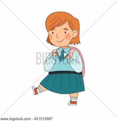 Back To School With Redhead Girl In Blue Uniform With Backpack Walking Vector Illustration