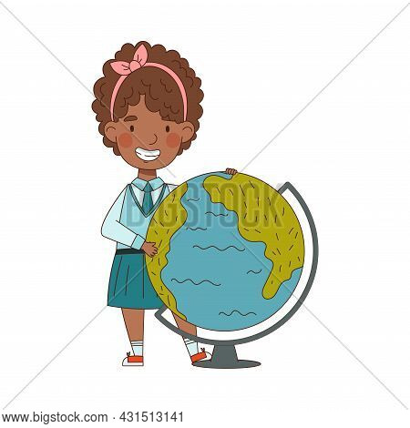 Back To School With African American Girl In Blue Uniform Standing Near Globe Studying Geography Vec