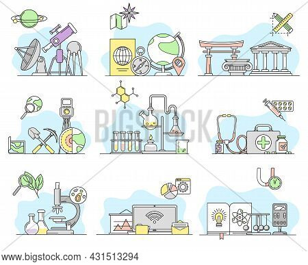 Science And Organizing Knowledge With Chemistry And Biology Study Vector Line Set
