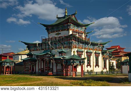 Ulan-ude. Russia. August 28, 2021. The Architecture Of The Ivolginsky Datsan, Which Houses The Incor