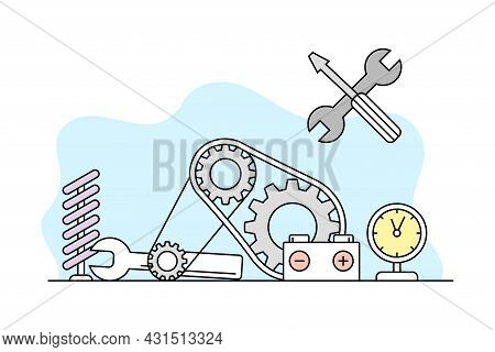 Science And Organizing Knowledge With Mechanical Part For Study Vector Line Illustration