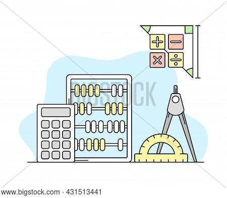 Science And Arithmetic Study With Counting Frame And Calculator Vector Line Illustration