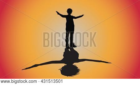 Abstract Background Of Silhouette Man With Revolver Gun Pose