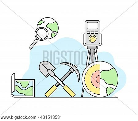 Earth Science And Geology Study With Shovel And Pickaxe Vector Line Illustration