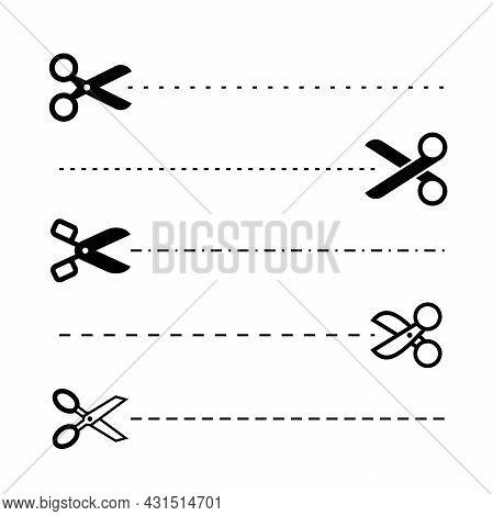 Set Of Simple Flat Scissors Icon With Cut Line Illustration Design, Silhouette Scissors Symbol Colle