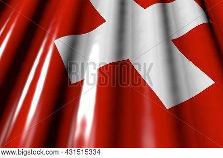 Nice Shining - Looking Like Plastic Flag Of Switzerland With Large Folds Lying Flat Diagonal - Any C