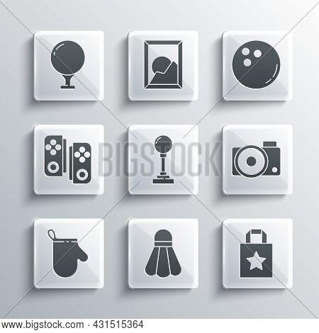 Set Badminton Shuttlecock, Paper Shopping Bag, Photo Camera, Joystick For Arcade Machine, Oven Glove