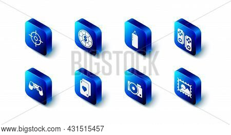Set Casino Chips, Punching Bag, Gamepad, Postal Stamp, Photo Camera, Playing Cards, And Target Sport