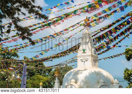 The Tibetan Stupa And Prayer Flag In The Area Of Swayambhunath An Ancient Stupa And One Of The Most