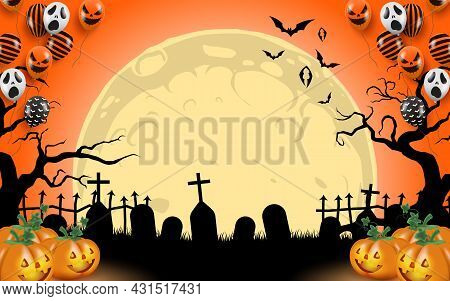 A Cemetery And Tombstone With Flying Bats And A Massive Moon In The Background. There Are Colorful B