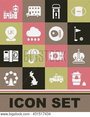 Set Coffee Cup To Go, British Crown, Golf Flag, London Phone Booth, Cloud With Rain, Location Englan