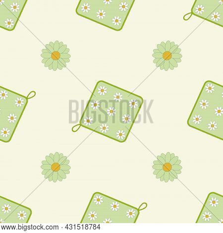 Colored Oven Mitt Seamless Vector Pattern. Design For Textiles, Fabrics, Clothing.