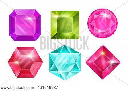 Game Gem Crystal Icon Set, Vector Jewel Stone Illustration, Ui Magic Diamond Treasure Kit On White.