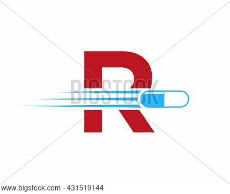 Medicine Logo With R Letter. R  Medicine Pill Or Tablet Logo Concept. Capsule Pharmacy Medical Logo