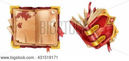 Old Book Set, Vector Ancient Vintage Manuscript, Red Leather Cover, Medieval Game Parchment Paper. M