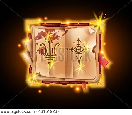 Old Magic Book, Vector Ancient Witchcraft Manuscript Game Illustration, Spell Spark Symbol, Cover. A