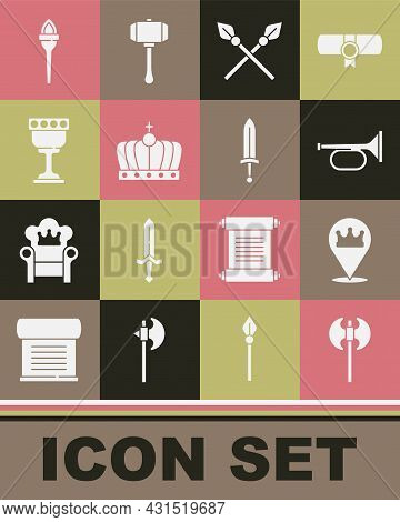 Set Medieval Axe, Location King Crown, Trumpet, Crossed Medieval Spears, King, Goblet, Torch Flame A