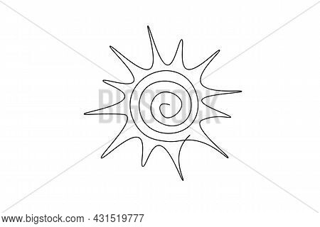 Continuous Line Sun Art. Single Line Sketch Sunny Summer Travel Concept. Icon Hot Bright Sky Weather
