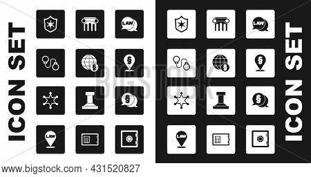 Set Law, International Law, Handcuffs, Police Badge, Location, Pillar, And Hexagram Sheriff Icon. Ve
