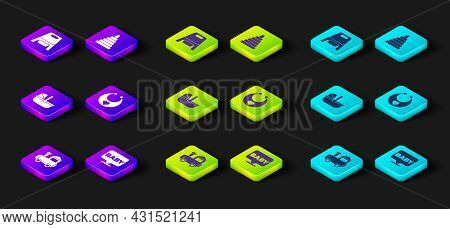 Set Toy Train, Baby, Stroller, Bib, Pyramid Toy And Potty Icon. Vector